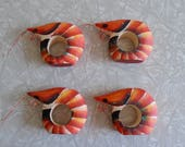 shrimp napkin rings, set of four hand carved hand painted wood napkin rings, shrimp boil, seafood ocean sea decor, novelty serving accessory