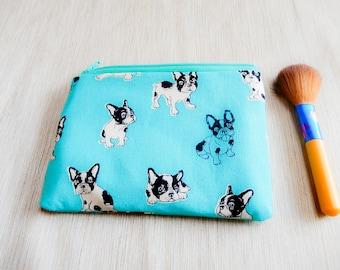Aqua Blue Bulldog Pouch, Zipper Pouch, Fabric Pouch, Pencil Pouch, Cosmetic Pouch, Coin Purse, Change Pouch, Zipper Case, Dog Pouch, Pouch
