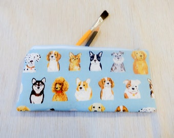 Make Up Bag/ Pencil Case/ Gift for Dog Lover/ Valentine Day Gift/ Gift for Her/ Gift for Women/ BFF Gift/ Girlfriend Gift/ Gift for Mom