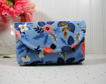 Snap Pouch, Large Snap Pouch, Cosmetic Pouch, Accessory Pouch... Birch Floral in Periwinkle, Rifle Paper Co