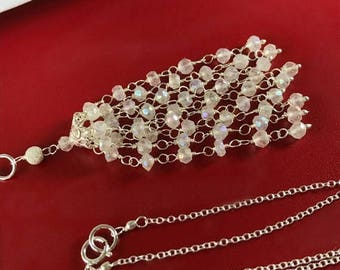 FLASH SALE White Tassel Necklace Wire Wrap Sterling Silver Mystic Quartz White Wedding Necklace Handmade Wedding Jewelry Romantic Bohemian B