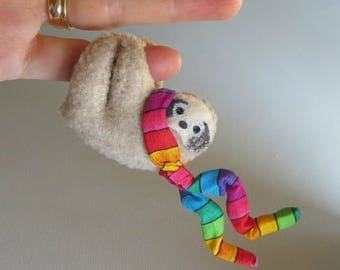 Sloth stuffed animal hugger with bendable legs and rainbow scarf for car visor or anywhere - felt rain forest animal