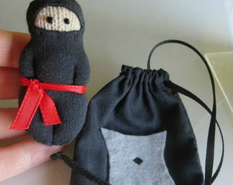 Black Ninja plush action figure doll with drawstring bag miniature