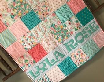 Bohemian Floral Woodland Baby Quilt - Personalized Baby Quilt - Blanket - Blush Pink- Deer - Buck  - Milestone - Antler bohemian Aqua Teal