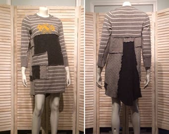 Upcycled Dress Patchwork Cashmere Sweater Tunic Shades Gray Stripes Crest n Pocket Boho Chic Eco Clothing Repurposed Sweaters Sz M L