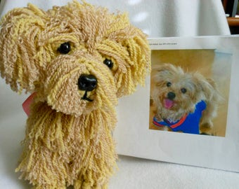 Crochet Dog, Custom Made to Look LIke Owner's Dog, Yorkie Maltese Dog, Canine, Stuffed Dog, Pet Remembrance, Pet Memorial, Look Alike