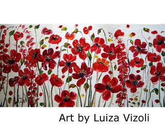 RED FLOWERS On White 48x24 Large Canvas Oil Painting by Luiza Vizoli Ready to Ship