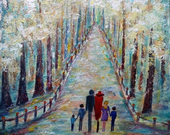 Abstract Painting Park Family of Six, Four Kids Painting, Original Painting Made to Order