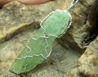 Green Kyanite Crystal Sterling Silver wire wrap necklace pendant - light Kyanite blade Tanzania Africa cord or chain coyoterainbow he50