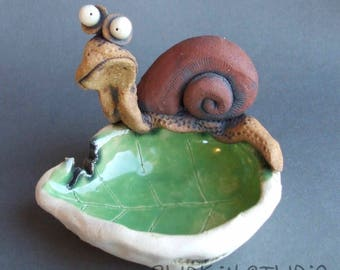 Hungry Snail on a Leaf Ceramic Dish Sculpture