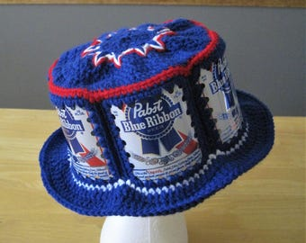 Crocheted Beer Can Hat - Pabst Blue Ribbon