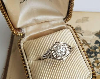 Art Deco 14K Diamond Engagement Ring .83 Carat Euro Cut Diamond VS2 Hand Pierced
