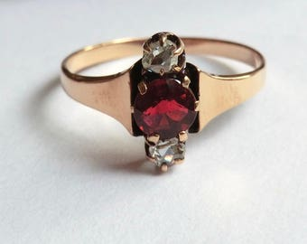 10K Gold Victorian Garnet Ring with Rose Cut Diamonds Size 6.5