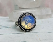 Opalite and Sterling Silver Ring with Star and Moon Stamps size 6