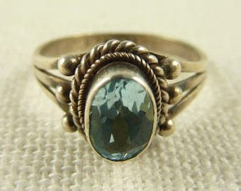 Size 6.25 Sterling and Blue Topaz Ring