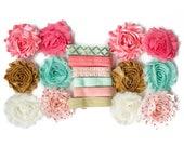 Persephone : Peach Aqua Gold DIY Headband Kit   6 or 12 Headbands   Chiffon Flower FOE Fold Over Elastic   Princess Parties & Baby Showers