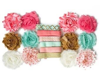 Persephone : Peach Aqua Gold DIY Headband Kit | 6 or 12 Headbands | Chiffon Flower FOE Fold Over Elastic | Princess Parties & Baby Showers