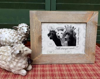 Labrador Retrievers in French Crowns, French Country Decor, Farmhouse Decor, Linen Print, Distressed Shabby Chic Frame, Printed on Linen