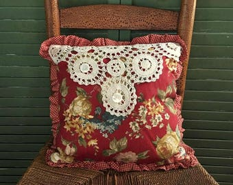 Shabby Chic Pillow Waverly Red Mixed Floral, Check and Ticking Stripe Pillow, Vintage Lace Envelope Closure with Vintage Button .