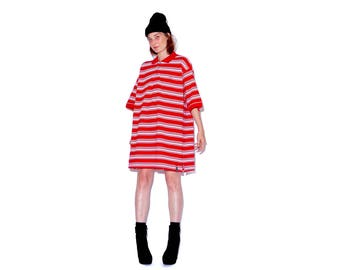 vintage 90s hip hop clothing SOUTHPOLE striped polo / oversized mens polo shirt dress oversized dress preppy striped shirt boyfriend shirt