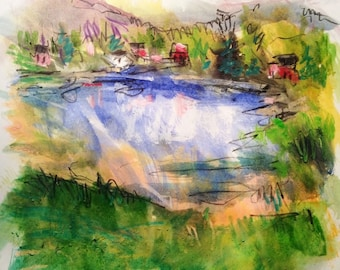 Camp cabins on Lakeside watercolor painting