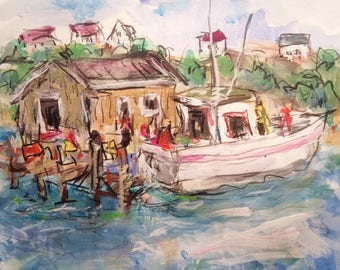 Sea shack painting with ocean village, fishing boats and seaside dock in harbor cove on pier original watercolor painting