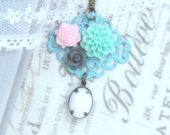 Victorian Flower Necklace Blue Filigree Necklace Shabby Chic Necklace Floral Jewelry Filigree Flower Necklace