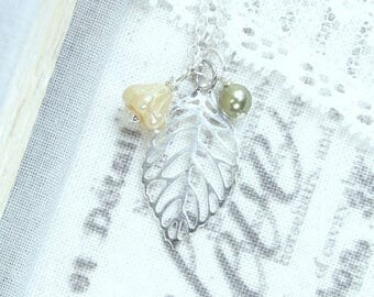Silver Leaf Necklace Leaf Charm Necklace Fall Necklace Autumn Gift Small Leaf Necklace Autumn Necklace