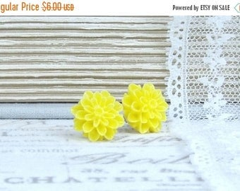 Yellow Mum Earrings Yellow Flower Studs Mum Stud Earrings Yellow Flower Jewelry Surgical Steel