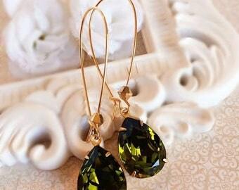 SALE 20% Off Green Earrings - Olive - Swarovski Earrings - Prom - SOMERSET Olive