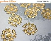 SUMMER CLEARANCE Raw Brass Full Floral Mini Filigree Ornamental Stampings - 12 pcs