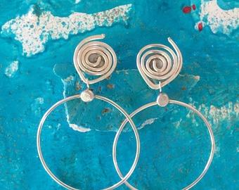 Post hoop earring, dangle hoop, silver plated,