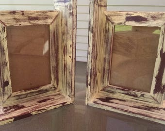 2 Picture Frames / 4 x 6  Picture Frames / Book End  Frames / Up-Cycled  Frames / Distressed Frames / Yellow Wood Frames / Rustic Home Decor