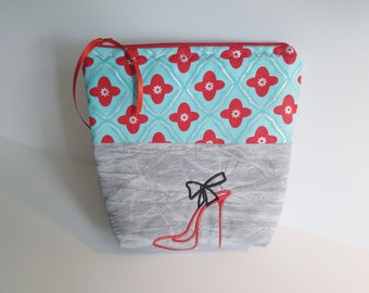Cosmetic Zipper Pouch, High Heel Embroidered Design, Makeup Bag, Travel Case, Gift for Her, Toiletry Case