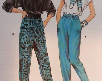 Out of Print Pattern 1980s Misses Pullon Pants Loose fitting pants with pockets Kwik Sew 1638 Misses Size Xsmall to Large