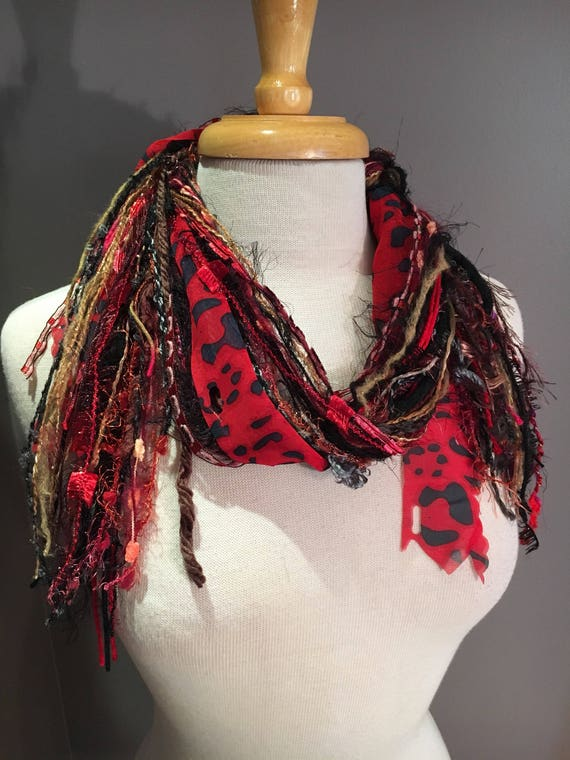Art yarn scarf, Fringie in Evil Cheetah, Fringe Scarf, Multitextural hand-tied fringe scarf or photo prop in red brown black, boho, eclectic