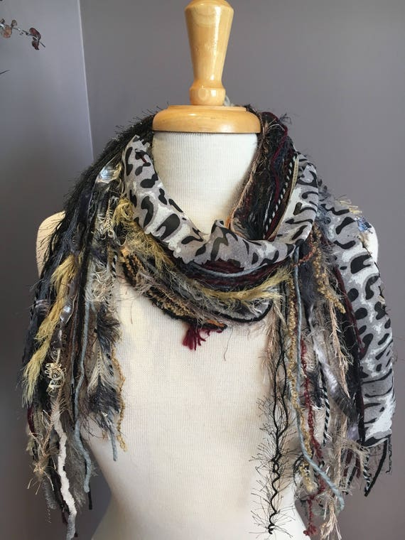 Medium Fringie in Jungle Cheetah, Handmade tied scarf, art yarn, fringe scarves, boho, mustard black taupe, funky scarf