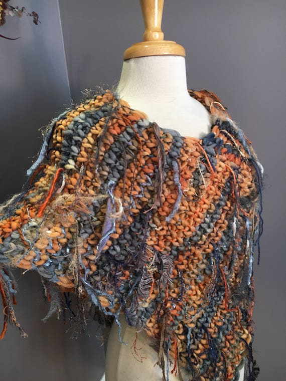 Hand knit poncho, tapered wrap, Dumpster Diva 'Coral Beach' Fringed Ponchos, one of a kind, handspun mohair, bohemian, peach blue poncho