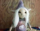 Needle felted elf fae woodland faerie crystal rose quartz