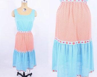 "FINAL SALE 1960s sundress | gingham picnic blue orange dress | vintage 60s dress | W 25"""