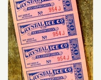 ON SALE Antique Pink Unused Ice  tickets Ephemera Lot
