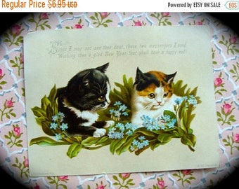 ONSALE Antique 1800s Christmas New Years Kitties Stunning Trade Lithograph Trading Cat Card N022