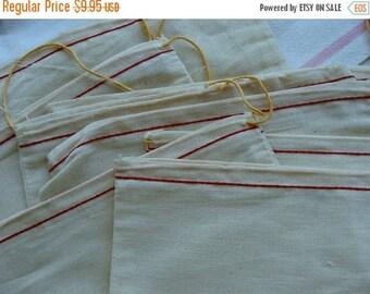 ONSALE 3 Rare Antique Muslin Original Postal Drawstring Bags