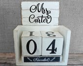 Teacher gift Wood Block Perpetual Calendar Personalized Farmhouse Shabby Chic
