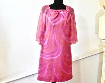 1960s Pink and Orange Chiffon Party Dress - Off the Shoulder Silk Cocktail Dress