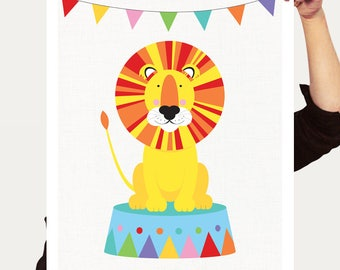 circus lion art nursery print - fun colourful art for kids rooms, childrens illusrtation, carnival wall art, playroom decor, bright baby art