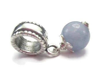 Aquamarine Bracelet Charm Sterling Silver Blue Gemstone European Bracelet Bead March Birthstone