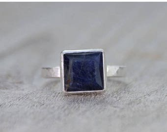 Summer Sale sapphire engagement ring in midnight blue, 5.40ct blue sapphire wedding gift, something blue gift, handmade in the UK