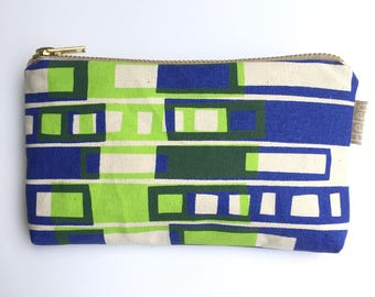 Blue and Lime Block print purse pouch makeup bag