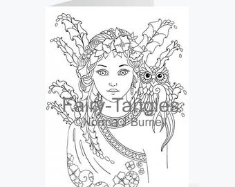 Printable Fairy Tangles Greeting Cards to Color Norma J Burnell 5x7 inch Fairy Greeting Cards for Coloring Card Making Fairies Owls to color